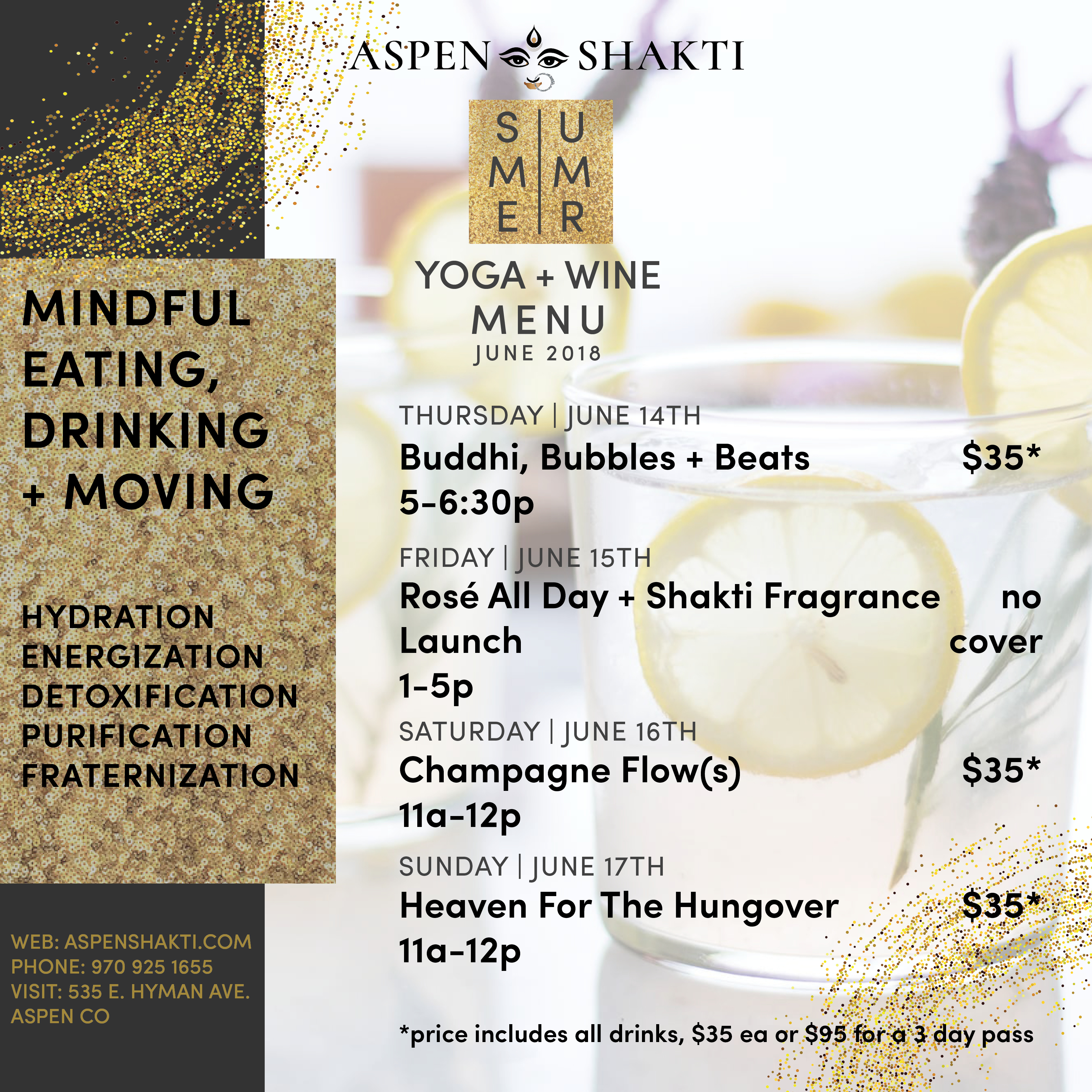 Aspen Shakti's Special Food + Wine Schedule June 14- June 17, 2018: